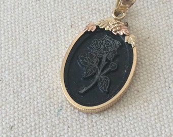 Necklace Pendant - Black Rose With 10 K Yellow Gold  Rose Gold  Black Hills Gold