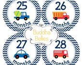 Baby Boy Month Stickers for Months 25 - 3 Years  Cars Planes Firetrucks Monthly Baby Stickers Third Year 3rd Year Photo Stickers