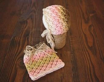 Rosalind knit Newborn bonnet and skirt set