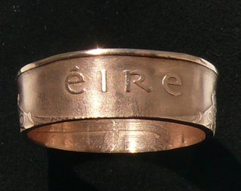 Bronze Coin Ring 1971 Ireland 2 Pingin, Size 10 and Double Sided