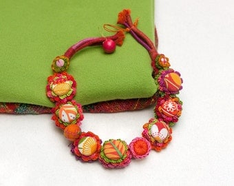 Colorful floral necklace, statement crochet jewelry with fabric buttons, OOAK