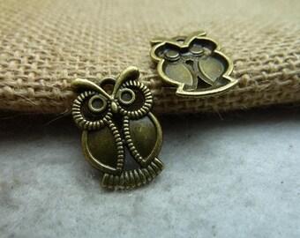 50pcs 15*21mm antique bronze owl charms pendant C7492