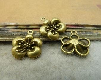 50pcs 14*15mm antique bronze flower charms pendant C5072
