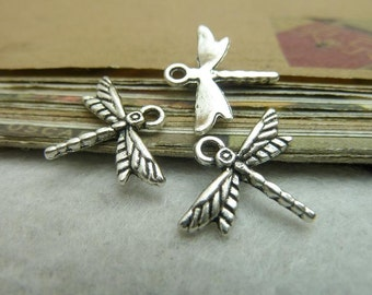 50pcs 16*19mm antique silver  dragonfly charms pendant C7211
