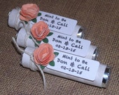 Wedding shower favors, bridal shower favors, peach flowers, grey hearts, personalized tags, mint to be mints, wedding mints, set of 55
