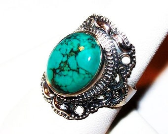 Tibetan Turquoise Stone Ring Signed 925 Sterling Silver Ladies Size 8 NOS Vintage