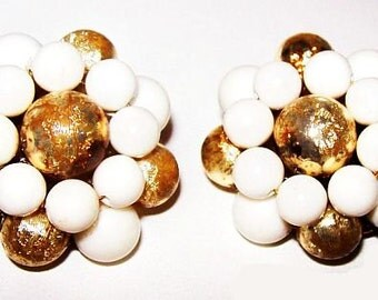 "Cluster Clip On Earrings Gold White Beads Gold Metal 1950s Signed Japan 1 1/4"" Vintage"