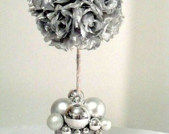 Silvery Silk Roses in Silver Vase, Silver Topiary Tree,  Artificial Roses Centerpiece, Anniversay Table Flowers