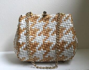 Vintage 60s Gaymode Vinyl Basketweave Handbag