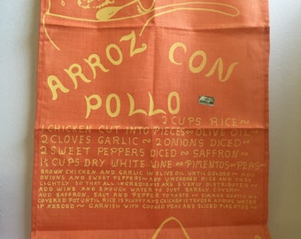 Key West Hand Print Fabrics Arroz con Pollo Tea Towel Signed by Peter Pell