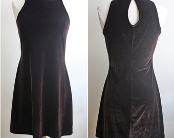 90s Velvet Dress // Brown Velvet Halter Dress Grunge  // XS S M L XSmall Small Medium Large