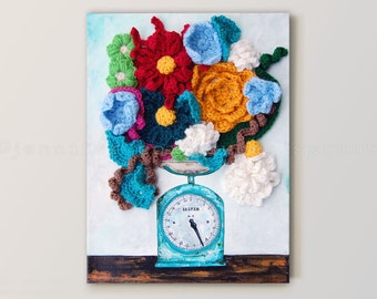 Salter Scale CROCHET + PAINTING on CANVAS - Vintage, Rusted Scale Showing the Weight of Crochet Flowers on a Wooden, Farmhouse Table