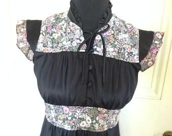 Vintage Floral & Black Dress FREE US SHIP