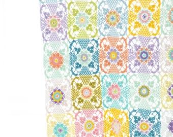 Crocheted Granny Blanket / Handmade Crocheted Afghan / Ice-cream Color Blanket / Throw Blanket / Crochet Blanket