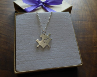Handmade Initial Puzzle Pendant Necklace, Satin