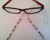 Butterflies & Pearls Eye Glasses Holder Lanyard Fashion Necklace, Silver and Swarovski Crystals Glasses Office Fashion Accessory