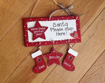Personalised Santa stop here sign/plaque