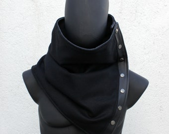 Unisex scarf. Snaps  cowl,  Extra Wide, Wool blend in black. Mens winter, Husband gift, Neckwarmer, Trendy, modern and cozy.