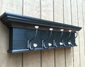 Coat rack wall shelf with hooks - towel hook shelf -