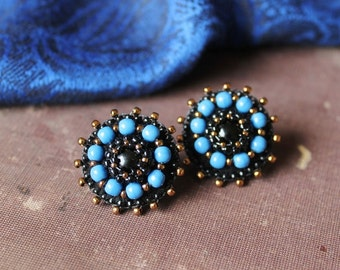 Black Blue Post Earrings Bead embroidery Earrings Blue Stud Earrings Beadwork Earrings Glass Beads Earrings Cabochon Onyx MADE TO ORDER