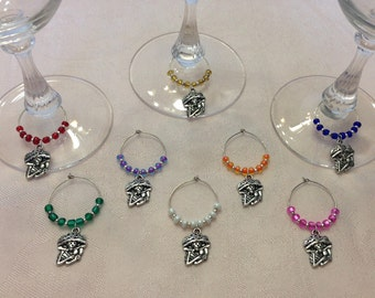 Day Of The Dead Skeleton Wine Glass Charms