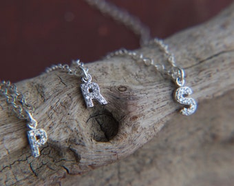 NEW CZ  initial charm necklace  sterling silver  -  tiny initial - zirconia initial  necklace - 925 solid sterling silver - zirconia initial