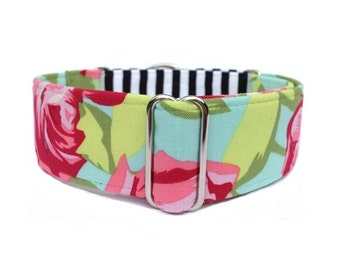 Paris in Spring Dog Collar - 1-inch or 1.5-inch Martingale Collar or Buckle Dog Collar