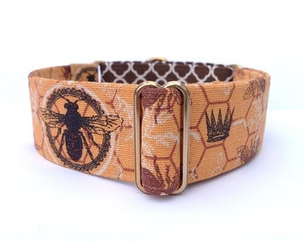 SALE Royal Honeybee Dog Collar - 1 inch or 1.5 inch Heavyweight Honeybees and Crowns Martingale Collar or Buckle Dog Collar