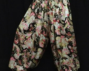 Black pink and tan floral satin harem pants for belly dance, bohemian, renaissance, gypsy