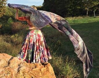 Silk veil for belly dance, renaissance, ATS,SCA, bellydance,cabaret, turkish, fusion-autumn collection