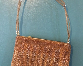 Vintage Gold Beaded Handbag