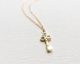 Gold Key Necklace, Key Necklace
