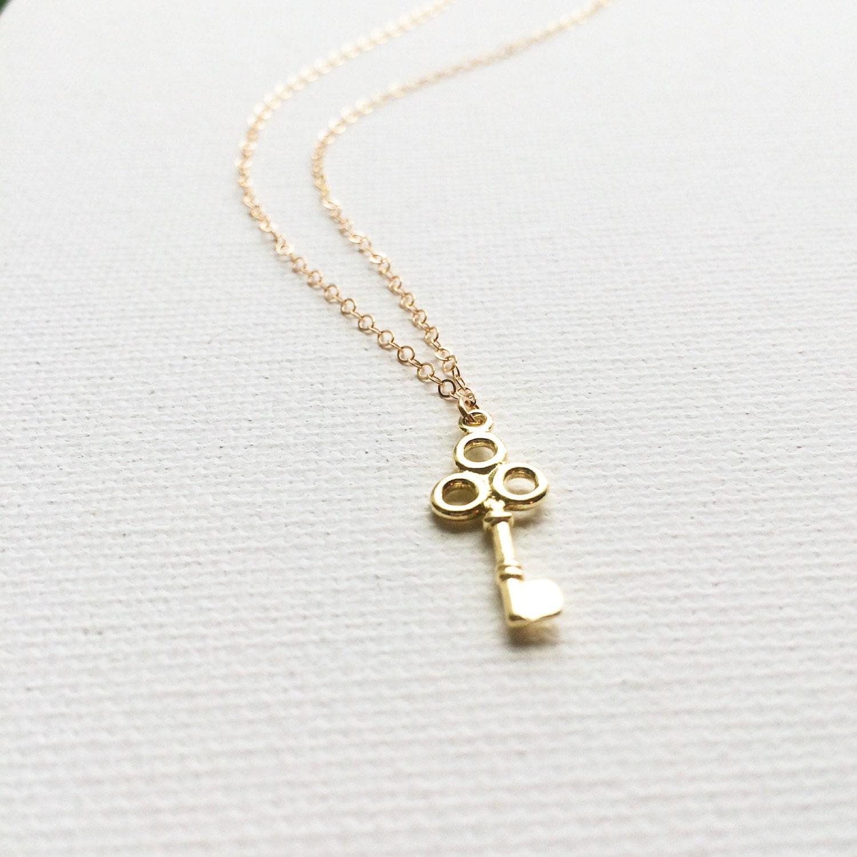 gold key necklace key necklace