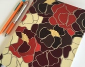 Fabric Covered Notebook – Red, Black, Brown and Cream Floral Print Fabric