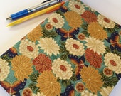 Fabric Covered Notebook - Gold, Cream and Red Floral Print Fabric
