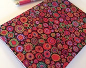 Fabric Covered Notebook – Red Circles with Black Background Print Fabric
