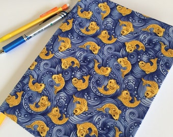 Fabric Covered Notebook – Fish and Water Print Fabric