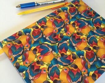 Fabric Covered Notebook – Bright Bird Print Fabric
