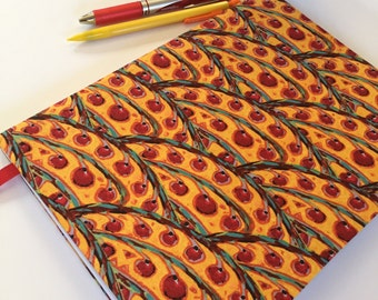 Fabric Covered Notebook – Red and Gold Berry Print Fabric