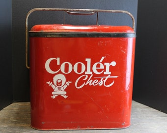 Vintage 1950s Red Eskimo Cooler Chest // With Handle // Ice Chest // Rare Find