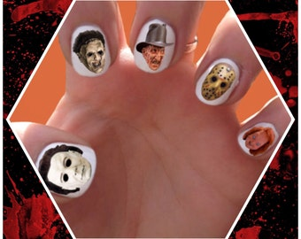 Horror Movie Villains // Monsters // Killers // Halloween // Chucky // Jason //  Nail Decals Transfer Nail Stickers // Freddie Kreuger