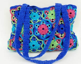 Turquoise upcycled soda tabs purse, Crochet Shoulder bag, Granny hexagons tote, Multicolor recycled Easy going handbag, Lime, Fuchsia, Blue
