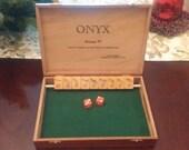 Shut the Box Game, ONYX  Vintage 97 Cigar Box Vintage Bakelite Mah Jong Tiles and dice