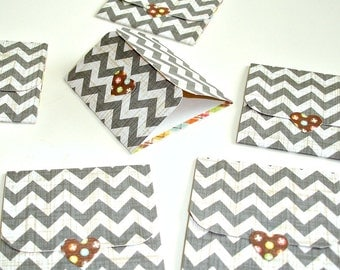 grey chevron mini note cards, blank handmade mini cards, set of 6 mini cards, lunch box note, thank you notes, gift tags, packaging cards