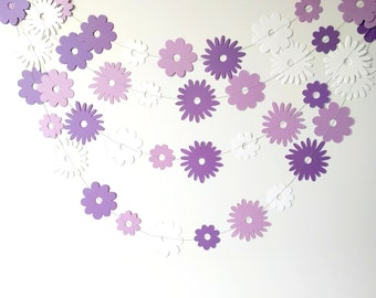 Purple paper garland, paper flower garland, spring decor, girl birthday party decoration, bridal shower, purple baby shower