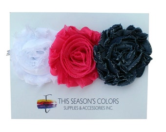 Classic Shabby Rose Flower Hair Clips or Ponytail Holders, Set of Three: White, Hot Pink & Denim