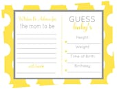 Yellow Advice and Baby Statistics - Shower Game Printable - Neutral Baby Shower Predictions Game -- Advice Mom to Be and Stats Activity Card