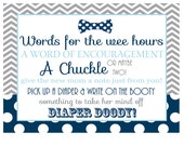 bow tie baby shower diaper duty sign -- navy, baby blue and gray with mustache boys -- diaper game instant download