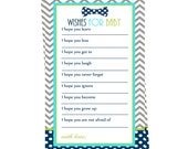 Baby Wishes Shower Game -  Bow Tie Baby Shower Wishes -Navy Wishes Baby Boy -  Baby Shower Activity Keepsake - Printable Wishes Game Card
