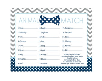 Baby Shower Animal Match Game Navy Blue and Gray Chevron with Bow Tie Boys Instant Download Activity